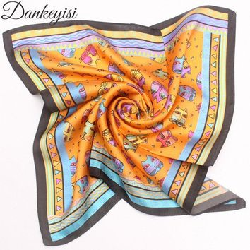 DANKEYISI Pure Silk small square scarves cat printed cartoon female silk scarf Hair Tie Band Scarf Head Neck Bandana Kerchief