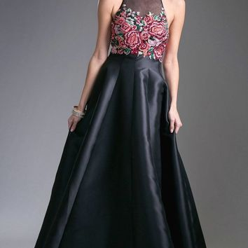 Black Halter Embroidered Prom Gown Open Back