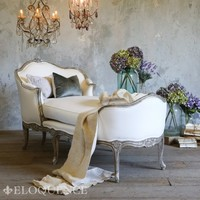 Eloquence Marie Antoinette Chaise in Silver-Two Tone Finish