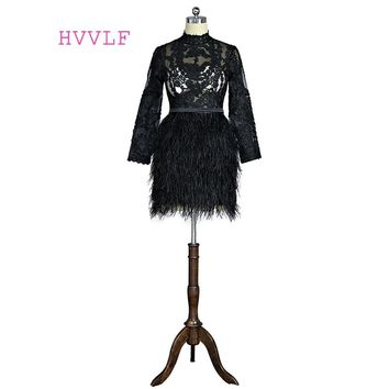 Black 2019 Formal Celebrity Dresses Sheath Long Sleeves See Through Feather Lace Short Mini Famous Red Carpet Dresses