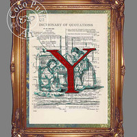 Red Letter Y with Children Playing House Art Beautifully Upcycled Vintage Dictionary Page Book Art Print