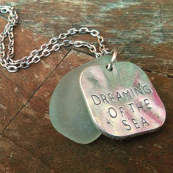 Beach Charm Necklace,  Sea Glass Necklace, Dreaming of the Sea Necklace, Seafoam Ocean Necklace, Beach Theme Jewelry, Sea Lovers, Beachy