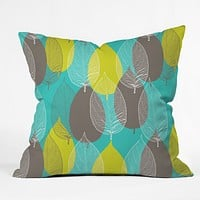 Aimee St Hill Big Leaves Blue Throw Pillow