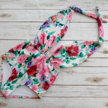 Swimsuit High Waisted Vintage Style Bathing Suit - White Pink Floral Print Pattern One Piece Maillot - Plunge Neck Retro Pin-up Swimwear