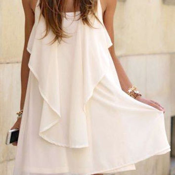 White Spaghetti Strap Back Cross Chain Ruffle Beach Dress