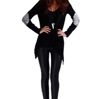 Black Long Sleeve with Elbow Patch Cardigan