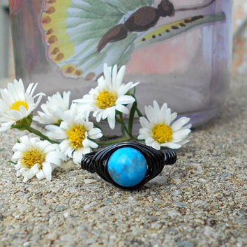 Ring, handmade ring, Turquoise Jasper ring, Jasper ring, wire ring, wire wrapped ring, gemstone, bohemian ring, custom ring, healing jewelry
