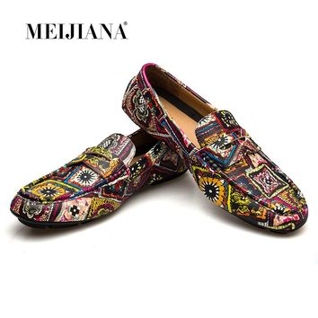 MEIJIANA Brand Leather Men Flats New Men Casual Shoes High Quality Loafers Driving Shoes Colorful Fashion Boat Shoes