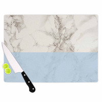 "Suzanne Carter ""Marble And Blue Block"" Modern Gray Cutting Board"
