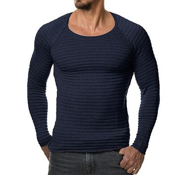 Sweater Pullover  Men 2017 Male Brand Casual Slim Sweaters Men Soild Color Vertical Stripes Hedging O-Neck Men'S Sweater XXXL