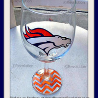 Denver Broncos Inspired Wine Glass with Chevron Bottoms
