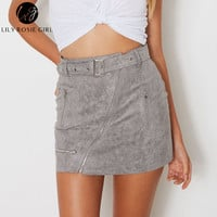 Lily Rosie Girl Gray Sexy Summer 2017 Suede Women Skirt Zipper Sashes Double Pocket Party Short Mini Ladies Black Skirts
