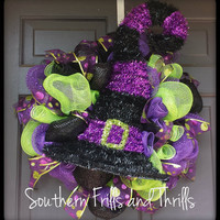 Halloween Witches Hat Deco Mesh Wreath