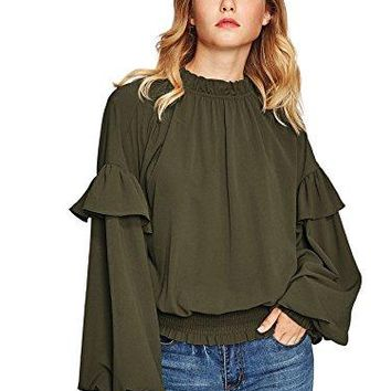 Romwe Womens Lantern Sleeve High Neck Keyhole Back Ruffle Trim Elastic Waist Shirt Blouse