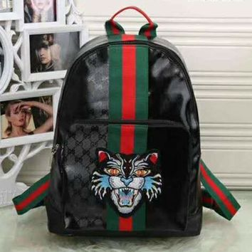 Gucci Women Fashion Leather Tiger Print School Bookbag Backpack G-LLBPFSH