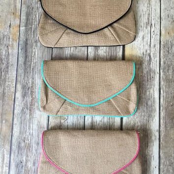 The Hampton burlap clutch in black, mint, or hot pink