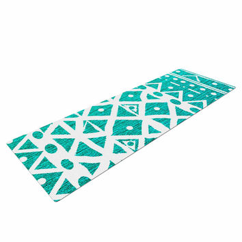 "Nika Martinez ""Aquamarine Tribal"" Teal Blue Yoga Mat"