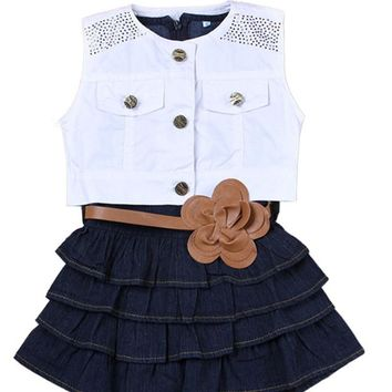 Girls denim skirt + vest 2pc set