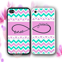 Personalized Pink Mint Chevron BFF Best Friends Case - 2 Cases For iPhone 5 / 5S