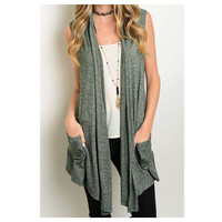 """""""Style and Flare"""" Pocket Detail Sleeveless Olive Green Vest Cardigan"""