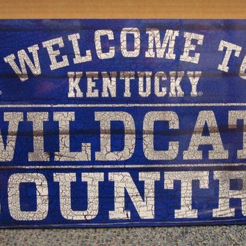 "KENTUCKY WILDCATS WELCOME TO WILDCATS COUNTRY WOOD SIGN 13""X24'' NEW WINCRAFT"