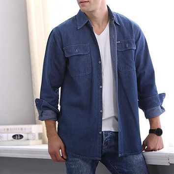 PODOM — Men's Denim Long Sleeve Solid Slim Fit Button-Up Dress Shirt (2018)