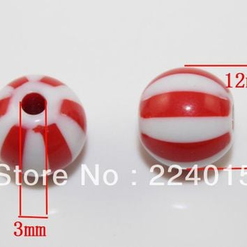 Free Shipping! 100pcs/12mm Red Acrylic Round Shape Ball Pony European  Beads For Chunky Necklace Making,JB135