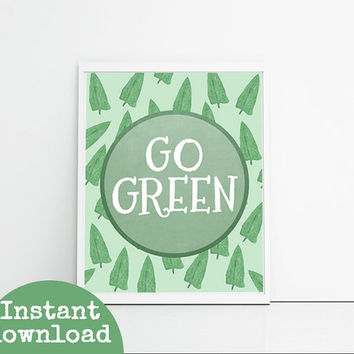Go Green Typography Printable - Circle Art Download - Green Leaves Wall Art - Kitchen Wall Decor Downloadable - Recycle Art
