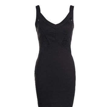 Black V Neck Bodycon Dress