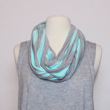 Mint and Grey Striped Jersey Knit Infinity Scarf