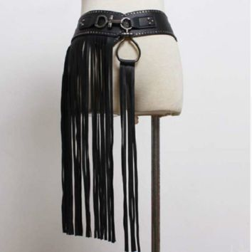 "29"" - 37"" waist black faux leather 20"" fringe tassel elastic stretch belt"