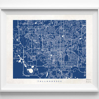 Florida, Tallahassee, Print, Map, FL, Poster, State, City, Street Map, Art, Decor, Town, Illustration, Room, Wall Art, Customize