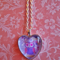 Purple Owl glass dome heart necklace for tween or teen girl