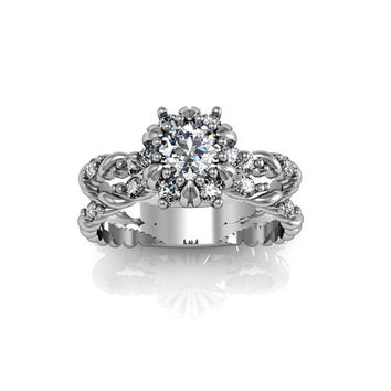 Art Deco Ring -  Antique Style Sterling Silver Cubic Zirconia Engagement and Anniversary Ring Set