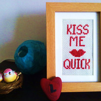 Kiss Me Quick Cross Stitch  Framed by kitsnbits on Etsy