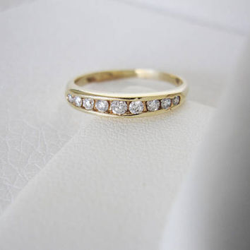 14k Vintage Natural Diamond Antique Genuine Diamonds Solid Yellow Gold Art Deco Edwardian birthstone stacking wedding band ring