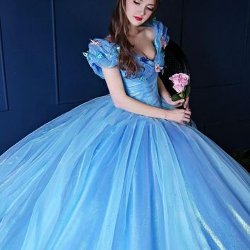 2015 Cinderella Quinceanera Dresses Organza V Neck Vintage Ball Gown Lace Up Blue Princess Prom Dres