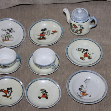 Old Vintage Porcelain Mickey and Minnie Mouse Child's Tea Set from Japan, 1930s, Blue and Ivory Colors, Tea Pot w Lid, Plates, and Tea Cups