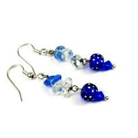 Blue Magic Eye with Blue and Clear Chips Dangle Earrings