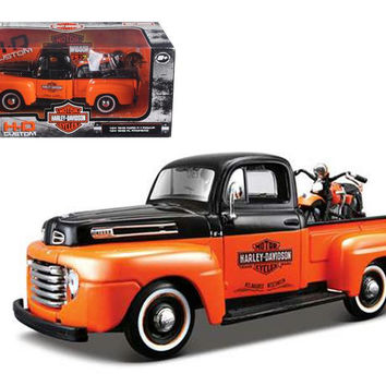 1948 Ford F-1 Pickup Truck Harley Davidson With 1948 FL Panhead Motorcycle Orange-Black 1-24 by Maisto