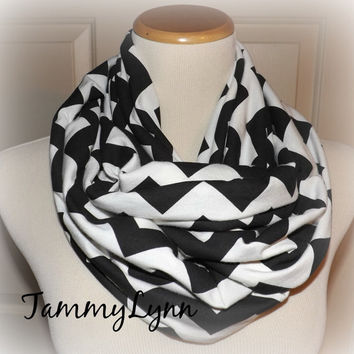 Ready to Ship Black & Cream Chevron Infinity Scarf Jersey Knit Double Loop Cowl Women Tammy Lynns Creations