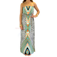Painted Desert Black & Jade Tribal Maxi Dress