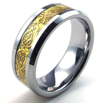 Tungsten Ring with Lace Gold Inlay Ring-Size 8