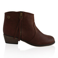 """Dorado"" Zip Up Low Heel Ankle Booties - Camel"