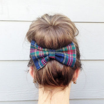 Plaid Large Bow, Flannel French Barrette Bow, Navy and Green Hair Accessory