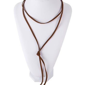 Brown Double Cord Choker Necklace