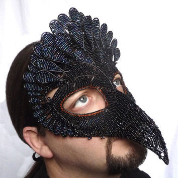 Vulture masquerade mask, mens, handmade, bird of prey.