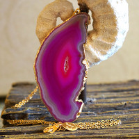 Funky Fushia Tan Agate Jewelry - Agate Slice Necklace - Agate Goede Necklace - Agate Geode - Druzy