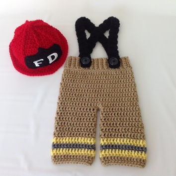 Crochet Newborn Fireman Set - Baby Fireman Firefighter Red Hat Crochet Outfit -Photography Prop - 0-3 months - Baby Shower Gift