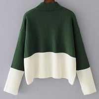 Two Tone Ribbed Pullover Sweater
